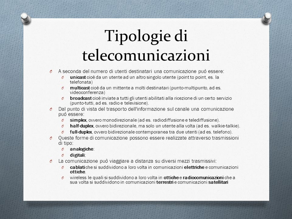 Tipologie di telecomunicazioni