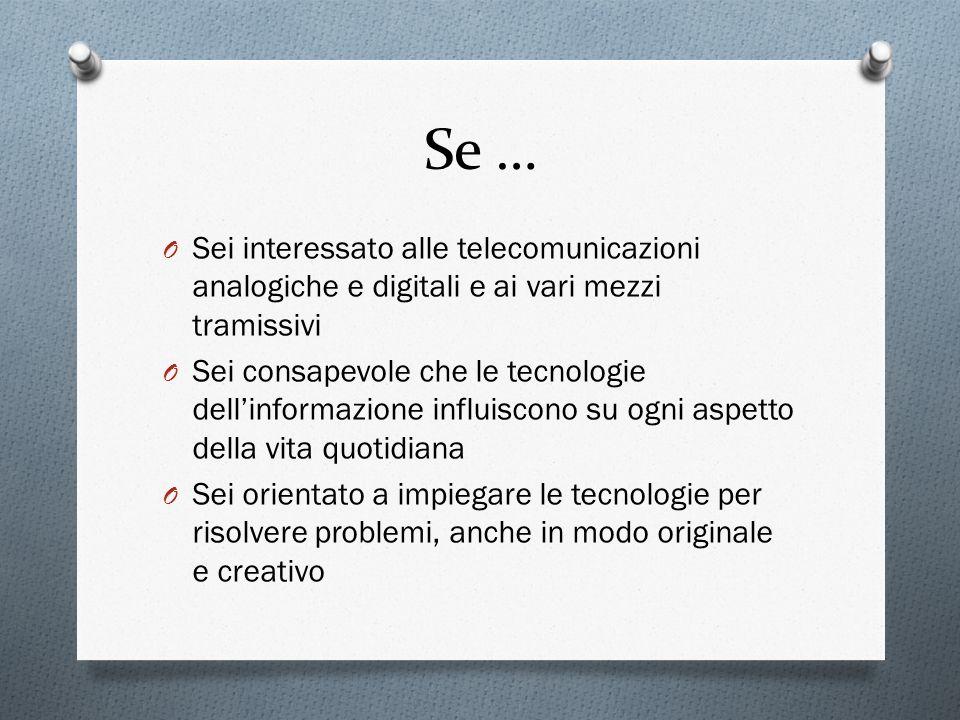 Se … Sei interessato alle telecomunicazioni analogiche e digitali e ai vari mezzi tramissivi.