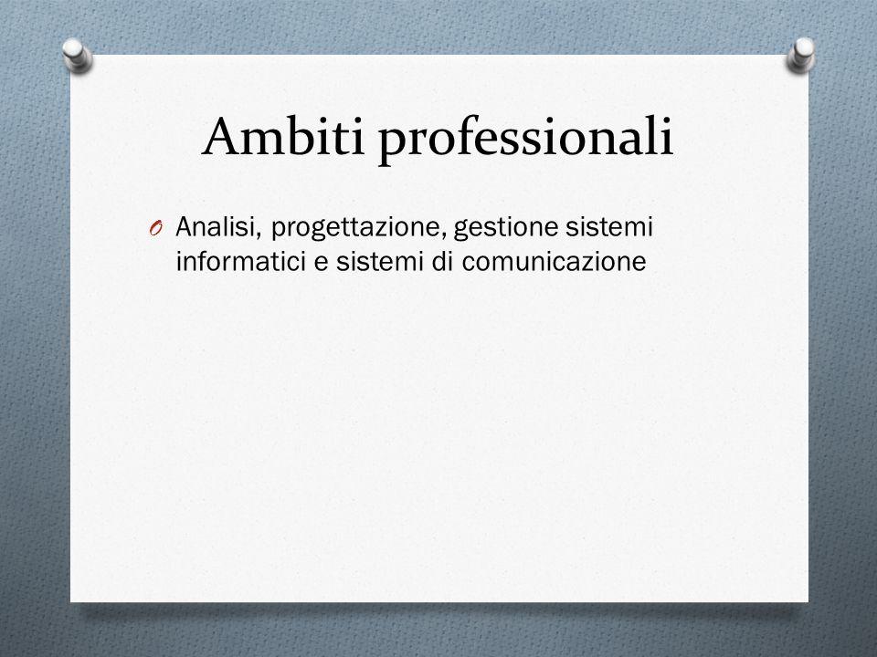 Ambiti professionali Analisi, progettazione, gestione sistemi informatici e sistemi di comunicazione.