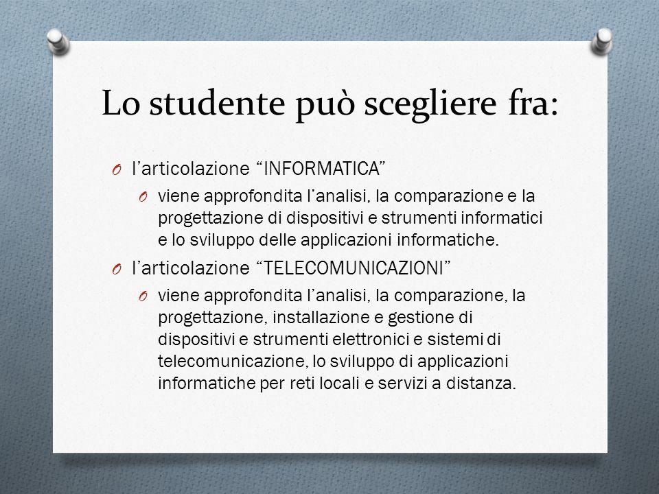 Lo studente può scegliere fra: