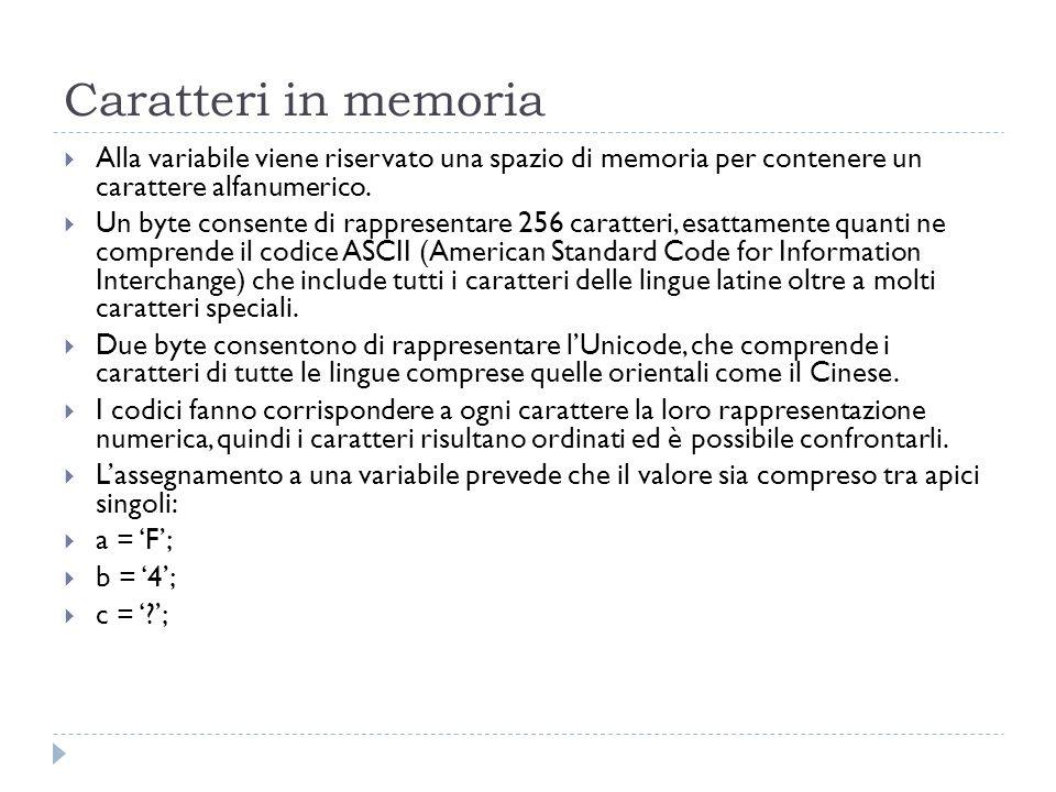 Caratteri in memoria Alla variabile viene riservato una spazio di memoria per contenere un carattere alfanumerico.