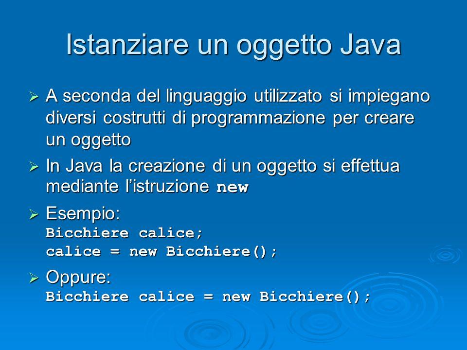 Istanziare un oggetto Java
