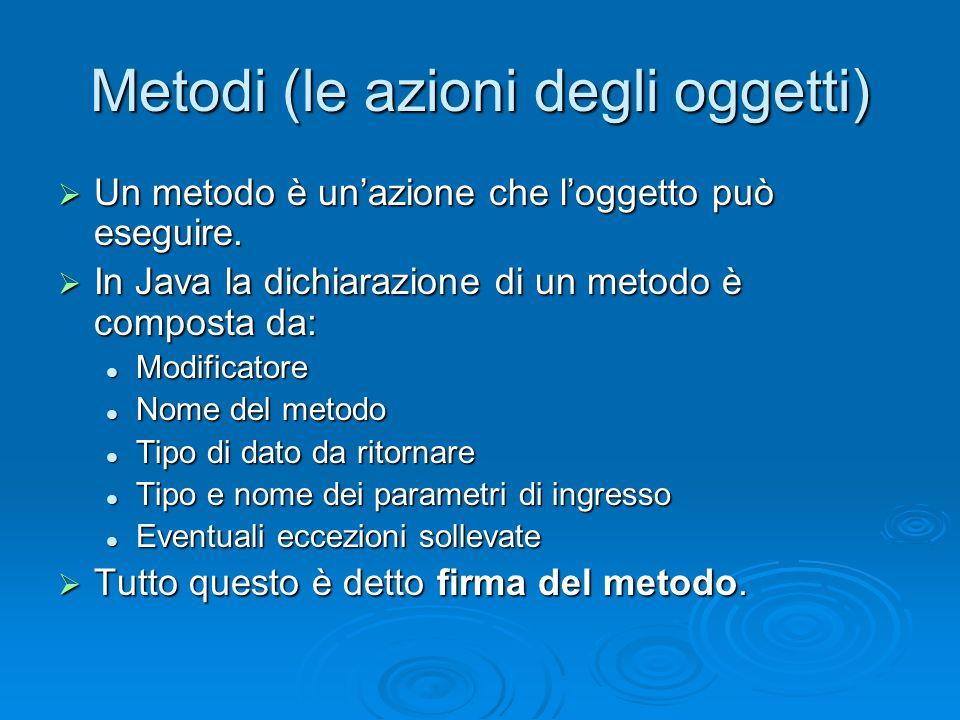 Metodi (le azioni degli oggetti)