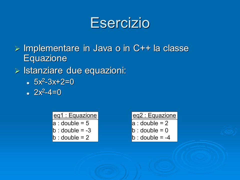 Esercizio Implementare in Java o in C++ la classe Equazione
