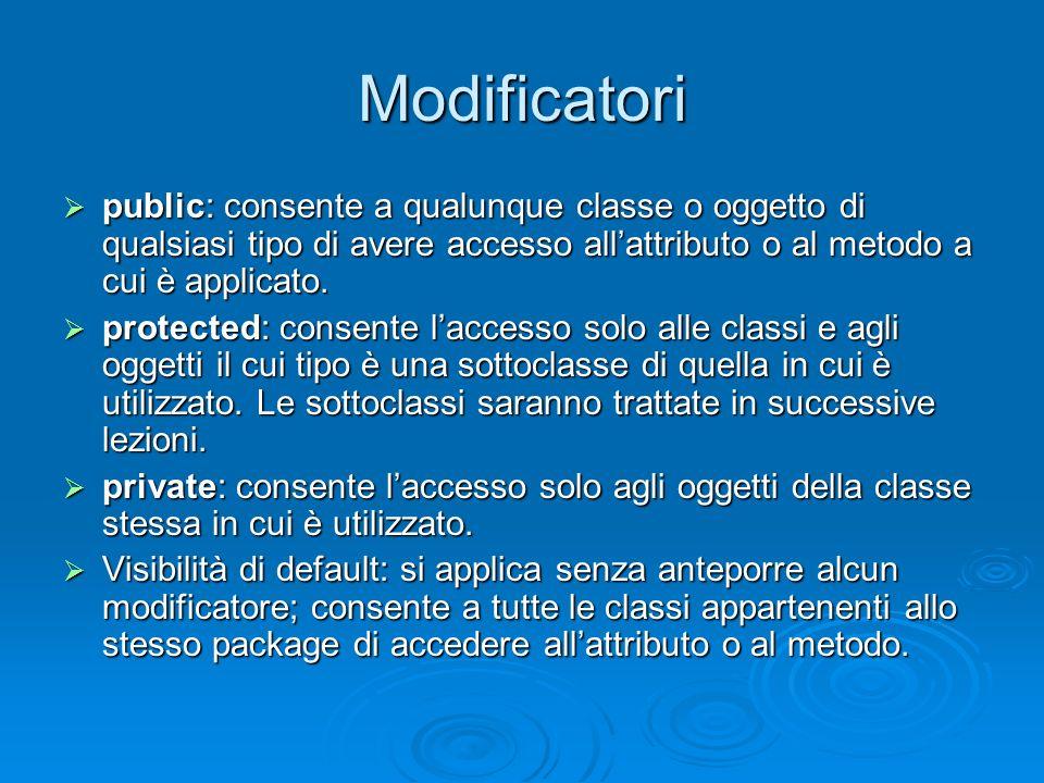 Modificatori public: consente a qualunque classe o oggetto di qualsiasi tipo di avere accesso all'attributo o al metodo a cui è applicato.