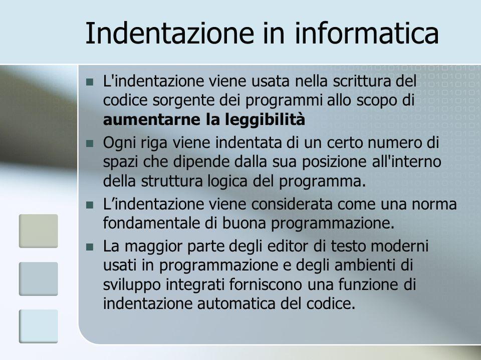 Indentazione in informatica