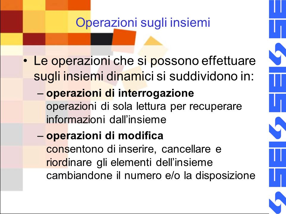 Operazioni sugli insiemi