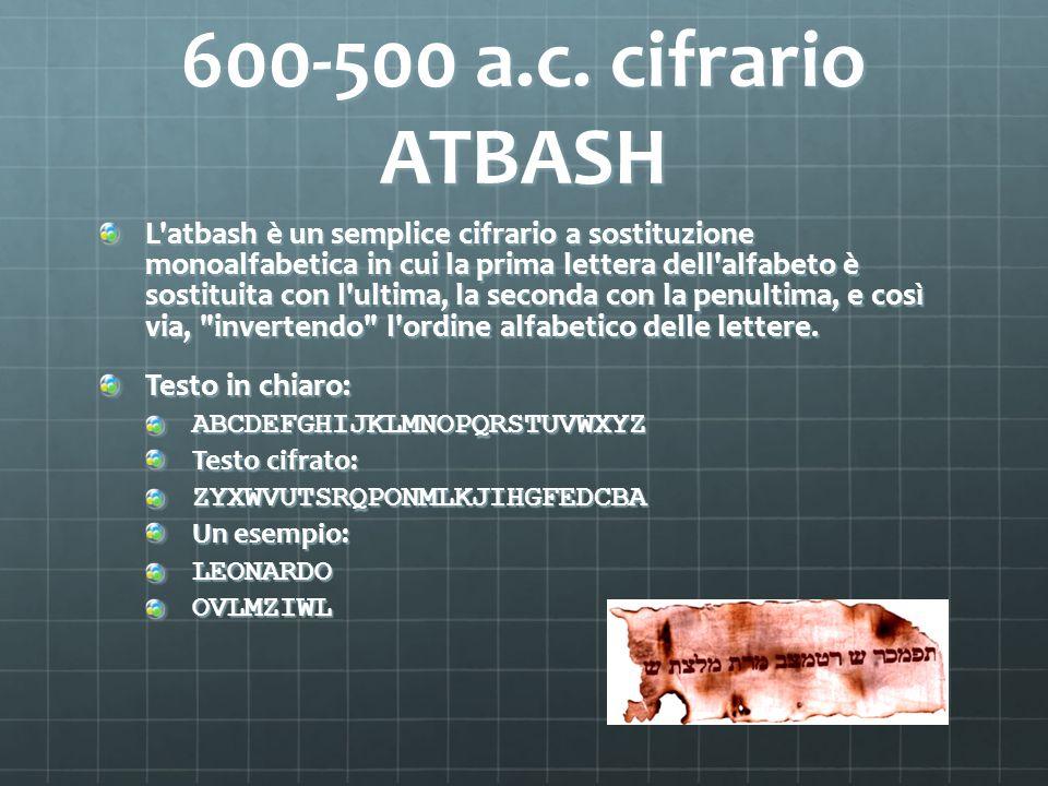 600-500 a.c. cifrario ATBASH