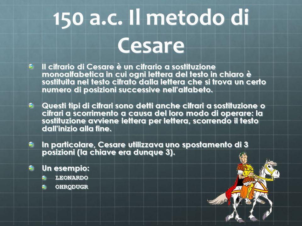 150 a.c. Il metodo di Cesare