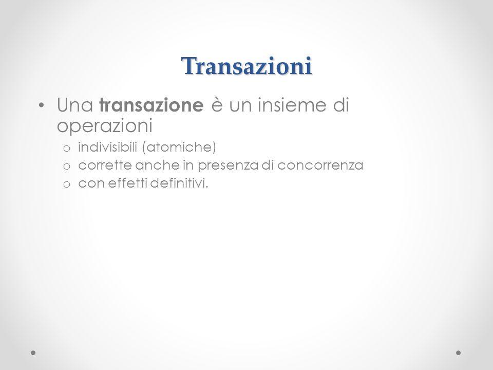 Transazioni Una transazione è un insieme di operazioni