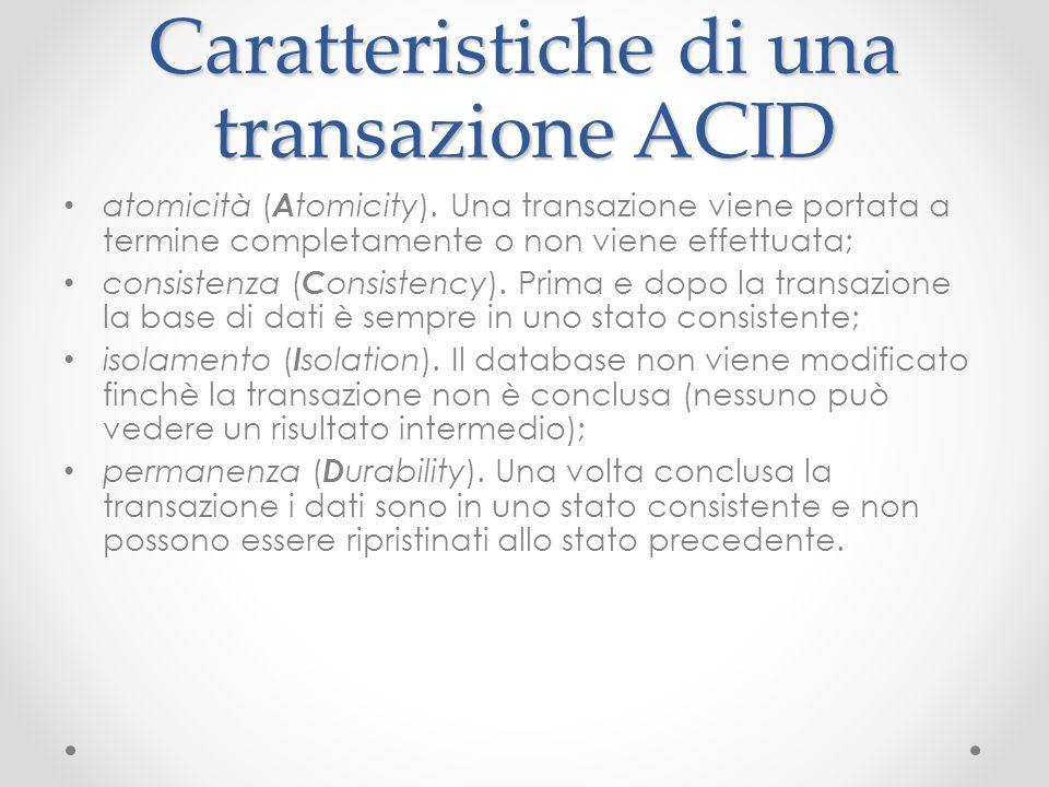 Caratteristiche di una transazione ACID