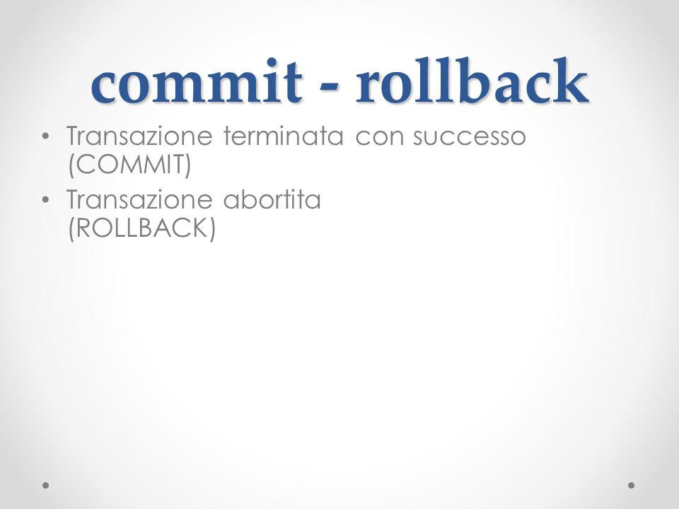 commit - rollback Transazione terminata con successo (COMMIT)