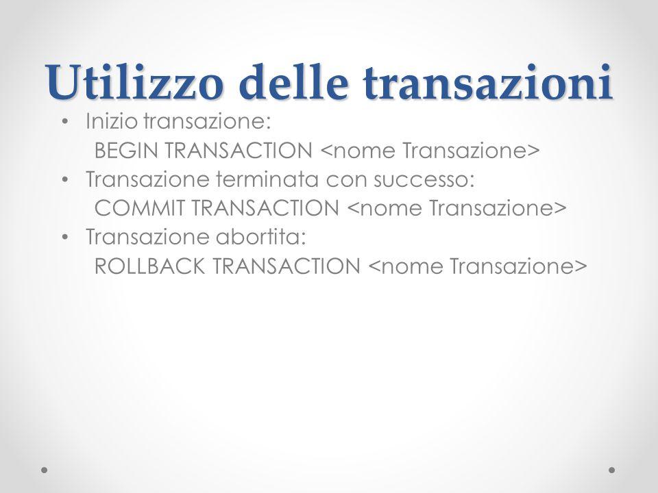 Utilizzo delle transazioni