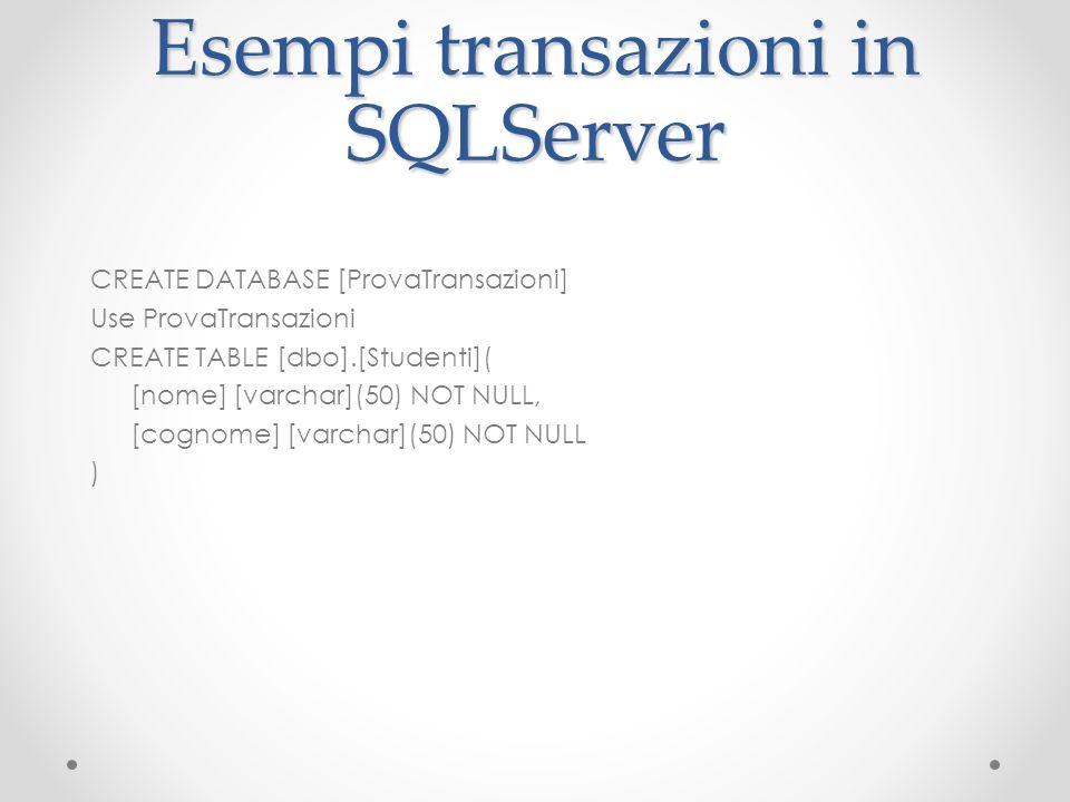 Esempi transazioni in SQLServer