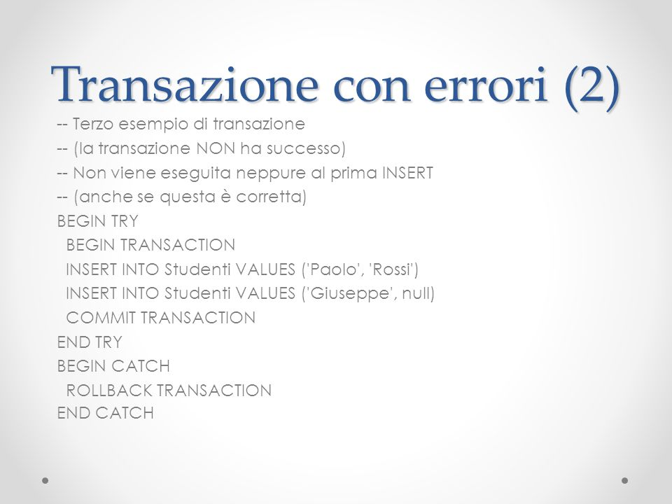 Transazione con errori (2)