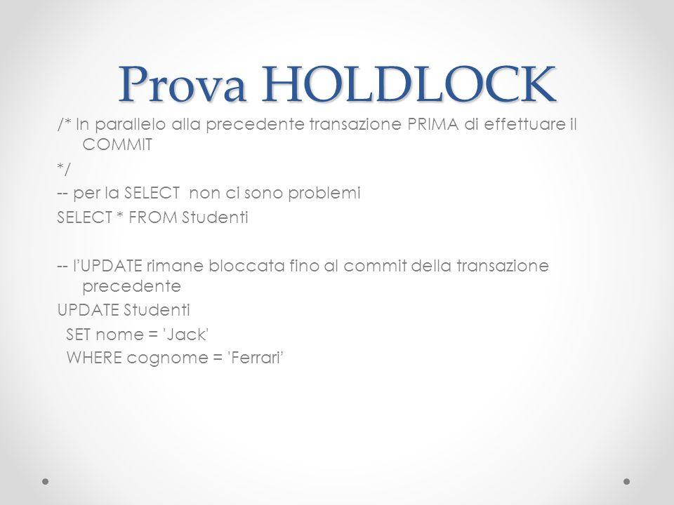Prova HOLDLOCK