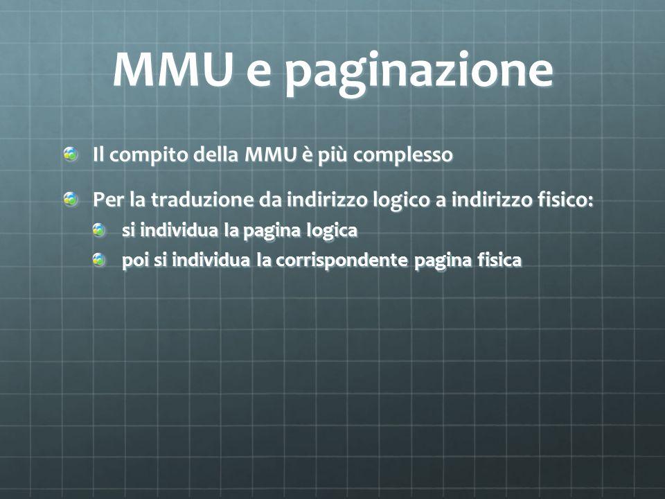 MMU e paginazione Il compito della MMU è più complesso