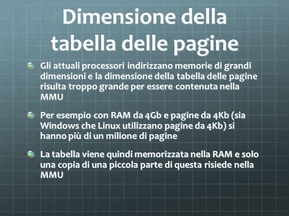 Dimensione della tabella delle pagine