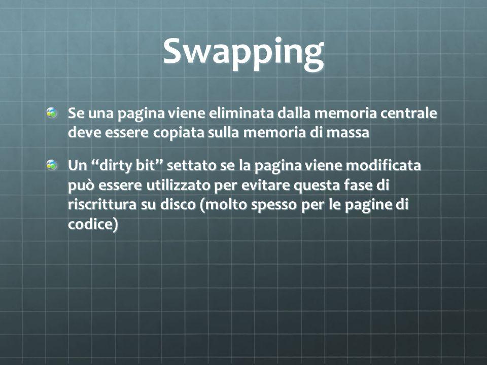 Swapping Se una pagina viene eliminata dalla memoria centrale deve essere copiata sulla memoria di massa.