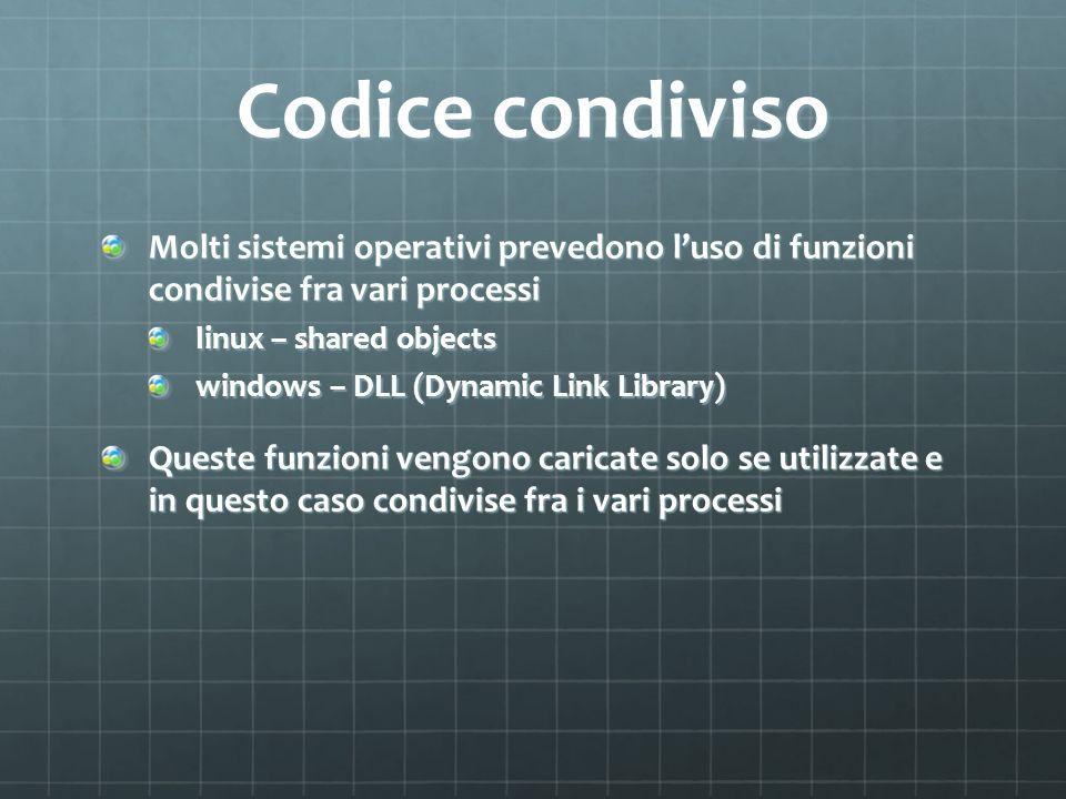 Codice condiviso Molti sistemi operativi prevedono l'uso di funzioni condivise fra vari processi. linux – shared objects.