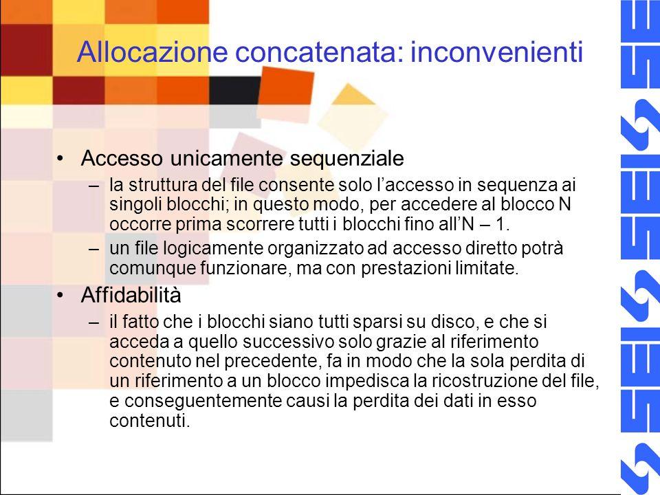 Allocazione concatenata: inconvenienti