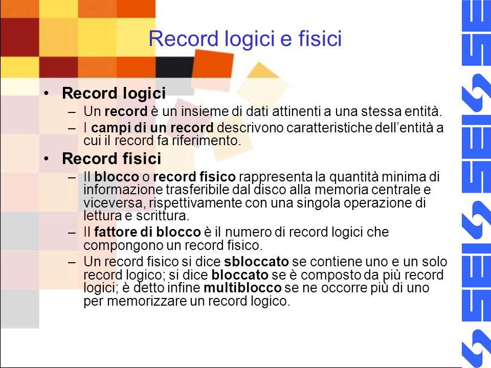 Record logici e fisici Record logici Record fisici