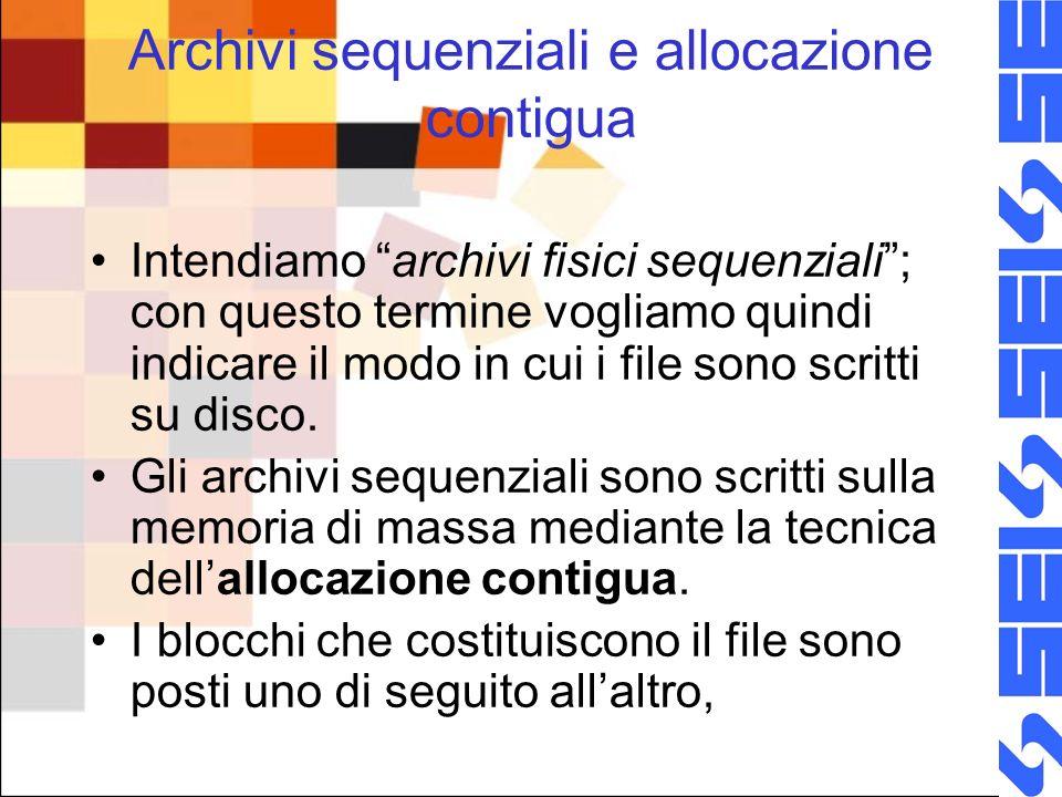 Archivi sequenziali e allocazione contigua