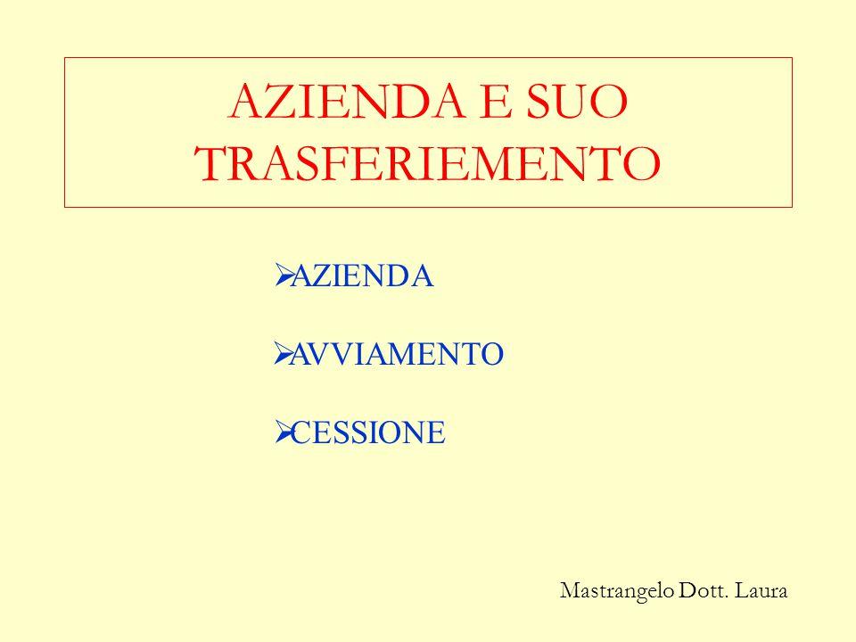 AZIENDA E SUO TRASFERIEMENTO
