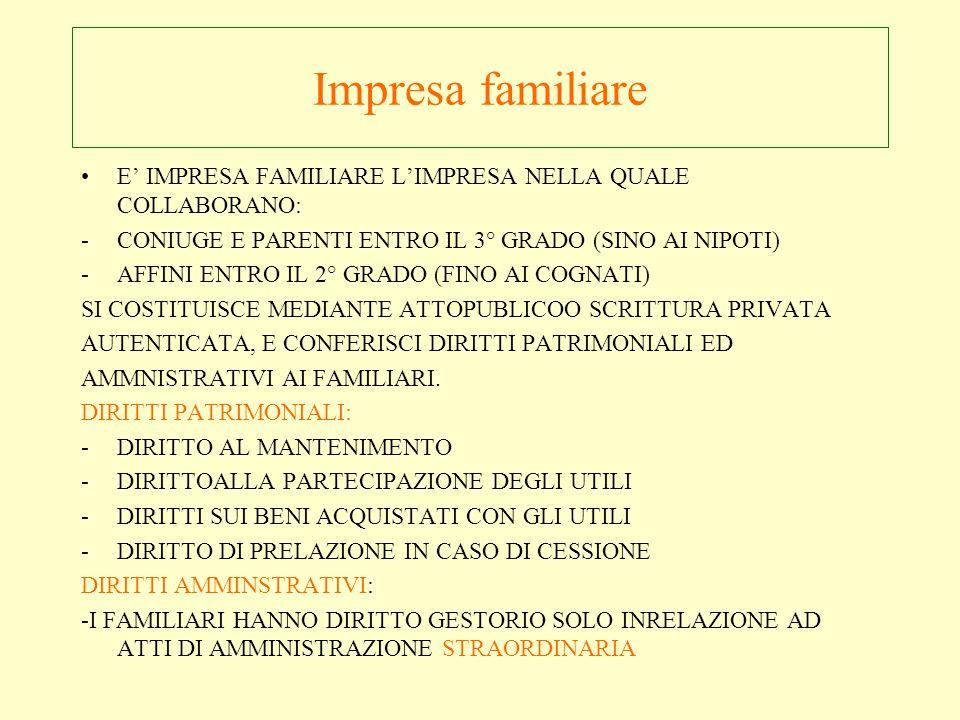 Impresa familiare E' IMPRESA FAMILIARE L'IMPRESA NELLA QUALE COLLABORANO: CONIUGE E PARENTI ENTRO IL 3° GRADO (SINO AI NIPOTI)