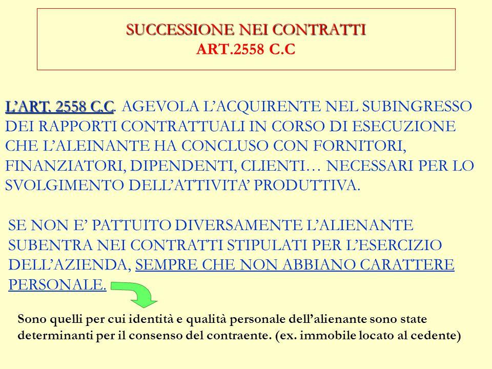 SUCCESSIONE NEI CONTRATTI ART.2558 C.C