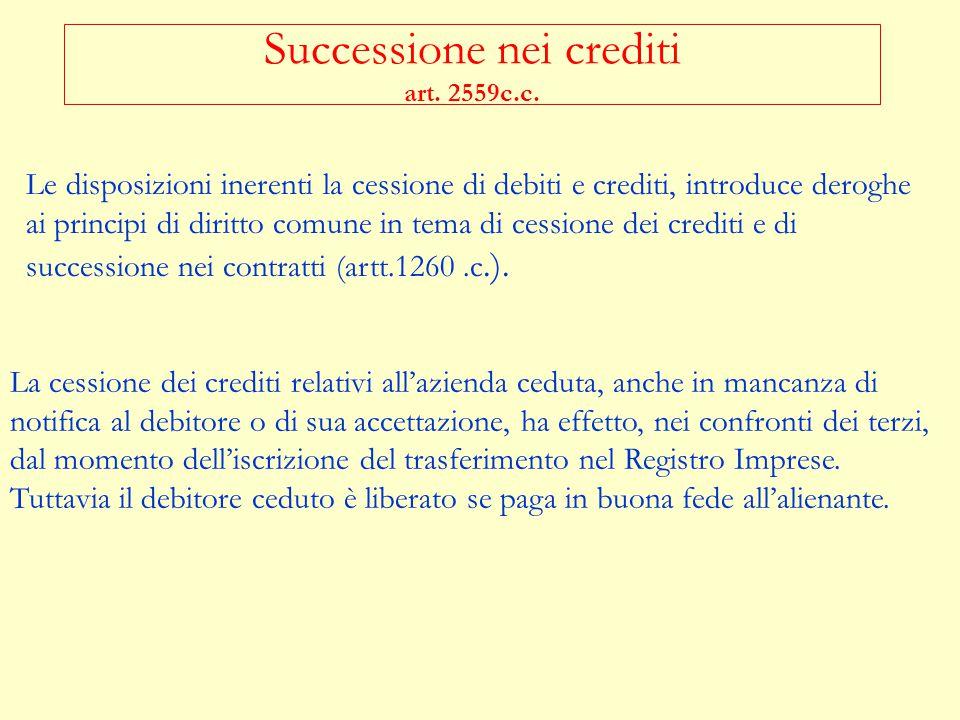 Successione nei crediti art. 2559c.c.