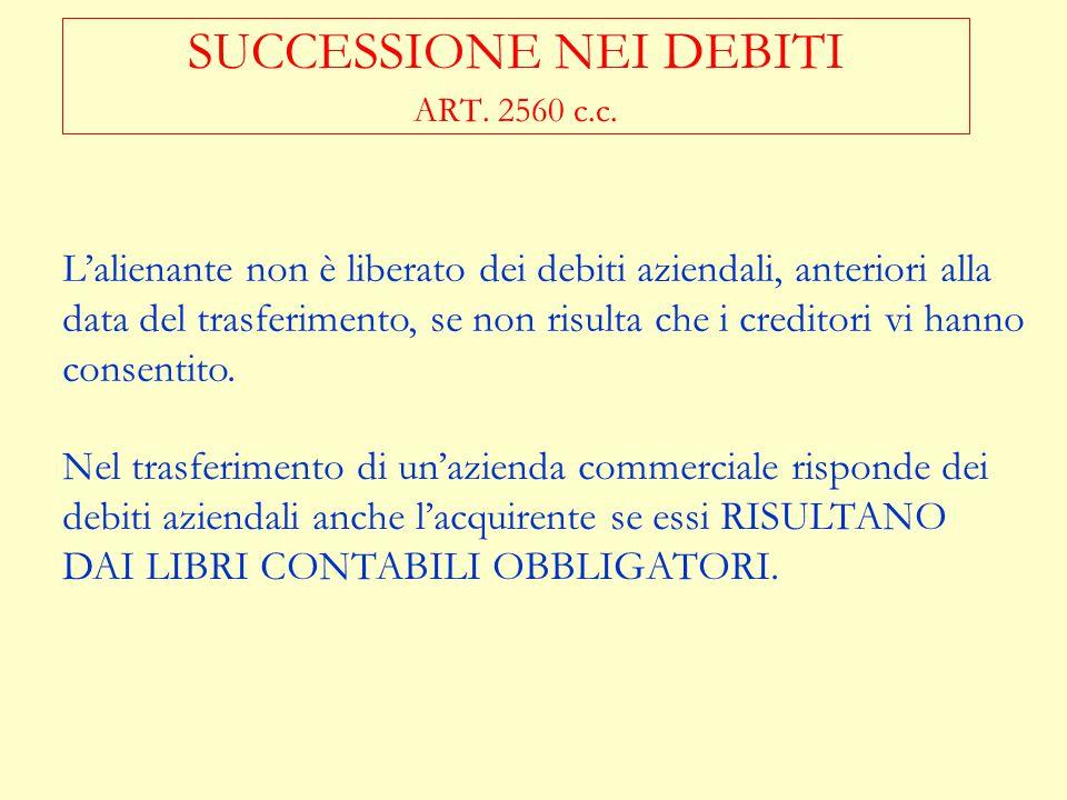 SUCCESSIONE NEI DEBITI ART. 2560 c.c.