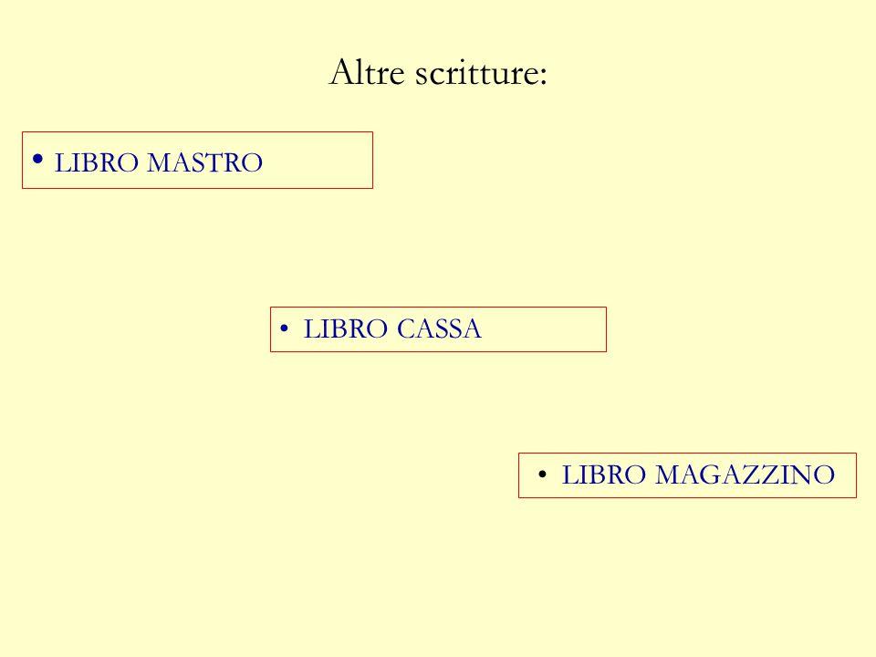 Altre scritture: LIBRO MASTRO LIBRO CASSA LIBRO MAGAZZINO
