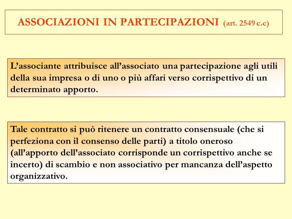 ASSOCIAZIONI IN PARTECIPAZIONI (art. 2549 c.c)
