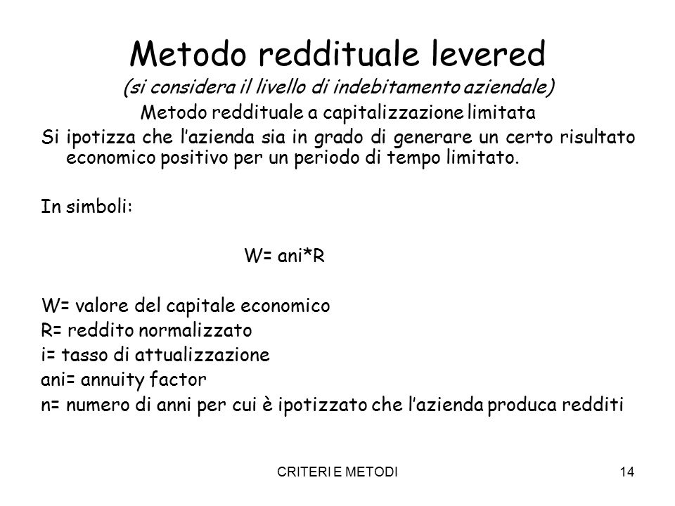 Metodo reddituale levered