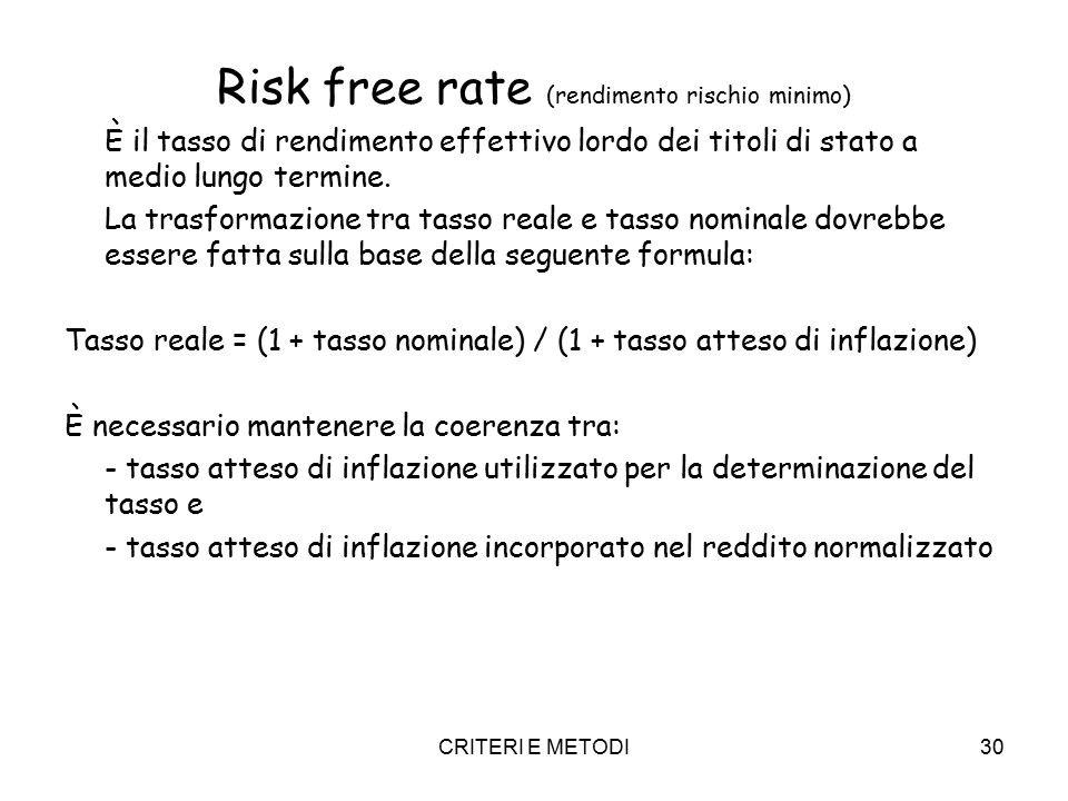 Risk free rate (rendimento rischio minimo)