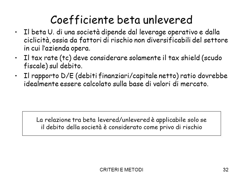 Coefficiente beta unlevered