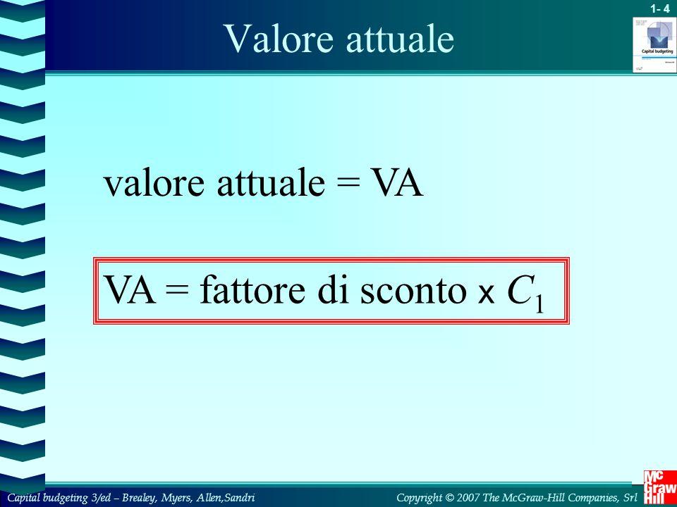 Valore attuale valore attuale = VA VA = fattore di sconto x C1