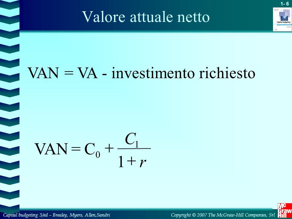 C + VAN = C 1 + r Valore attuale netto