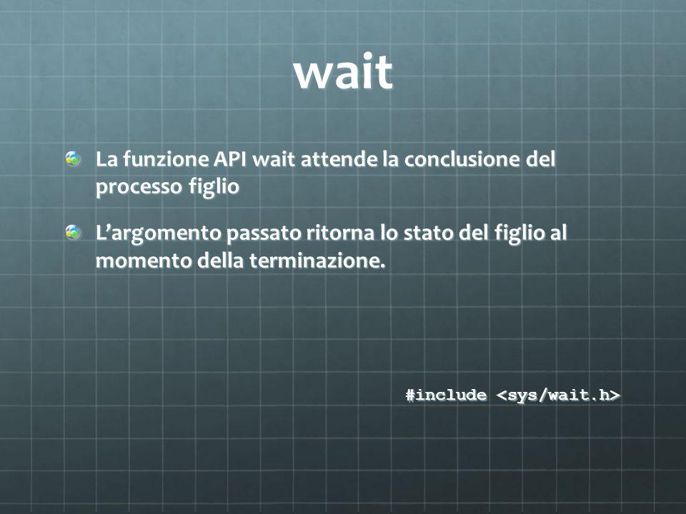 wait La funzione API wait attende la conclusione del processo figlio