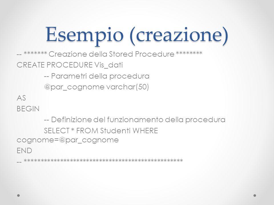 Esempio (creazione)