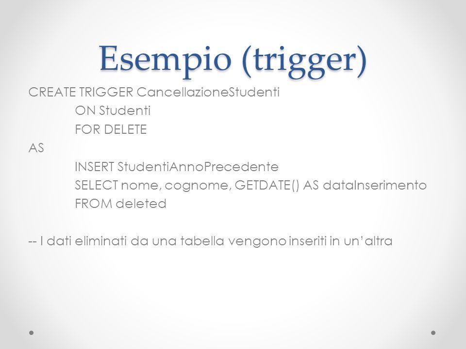 Esempio (trigger)