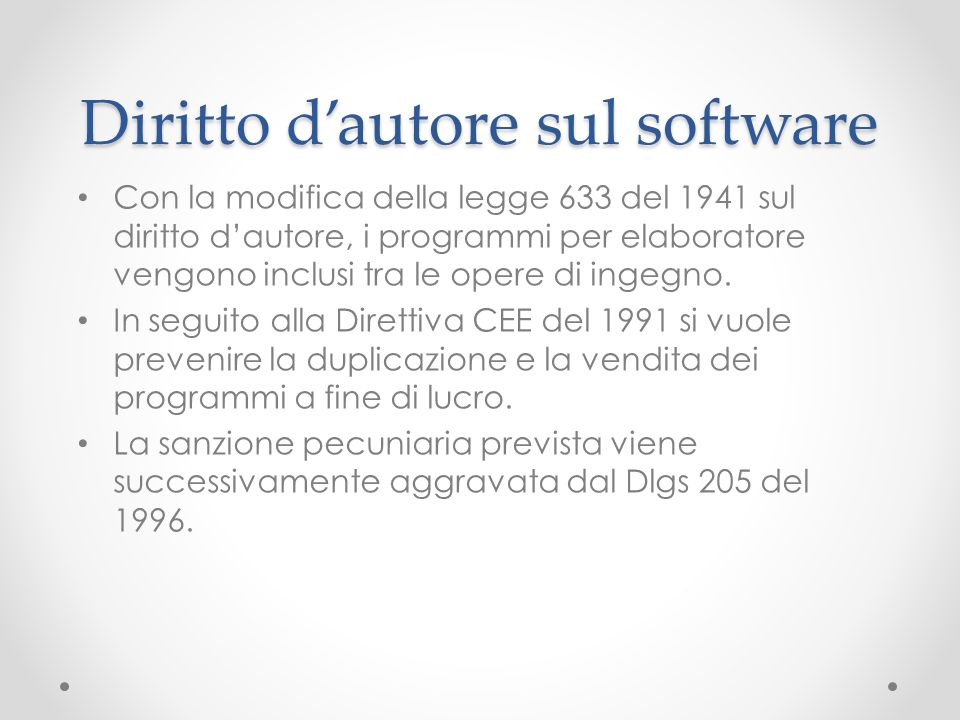 Diritto d'autore sul software