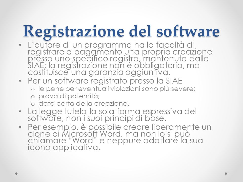 Registrazione del software