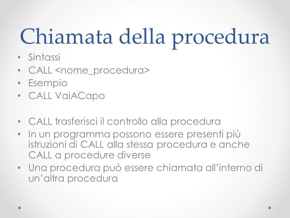 Chiamata della procedura