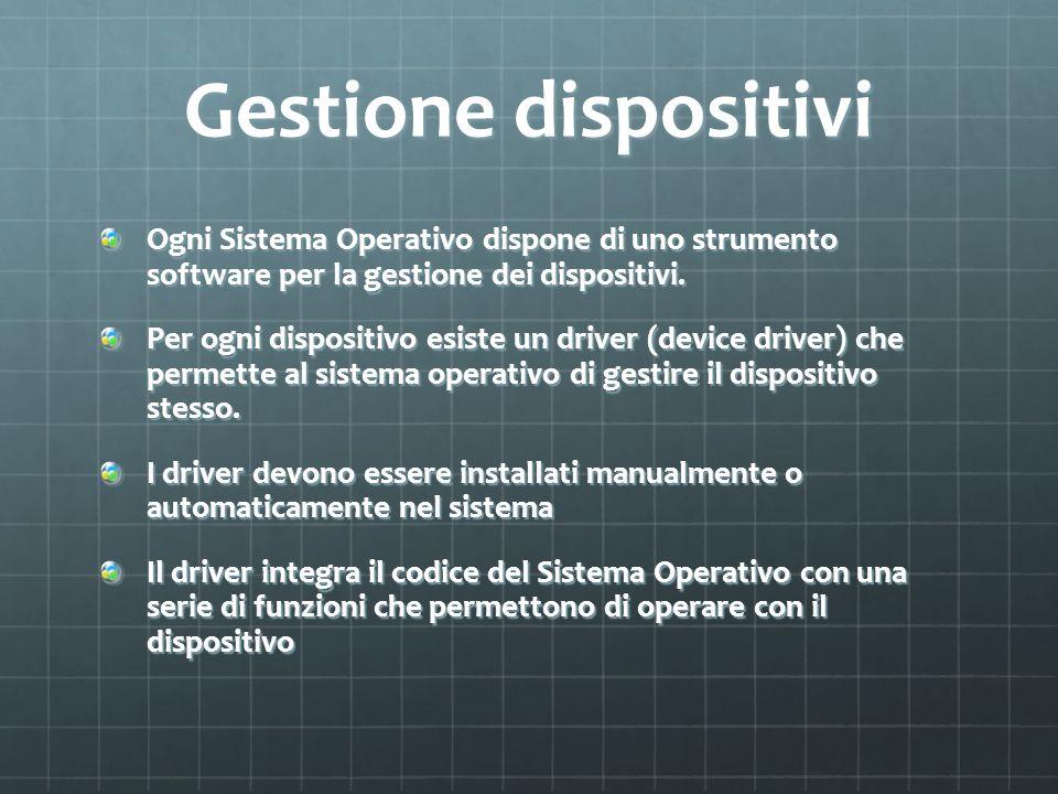 Gestione dispositivi Ogni Sistema Operativo dispone di uno strumento software per la gestione dei dispositivi.
