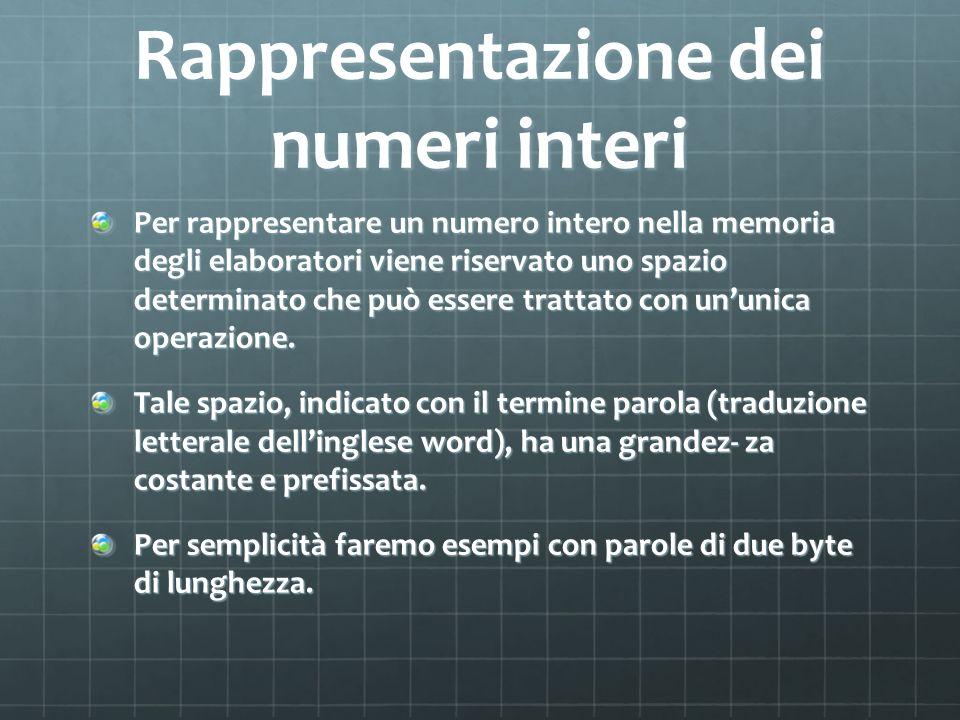 Rappresentazione dei numeri interi