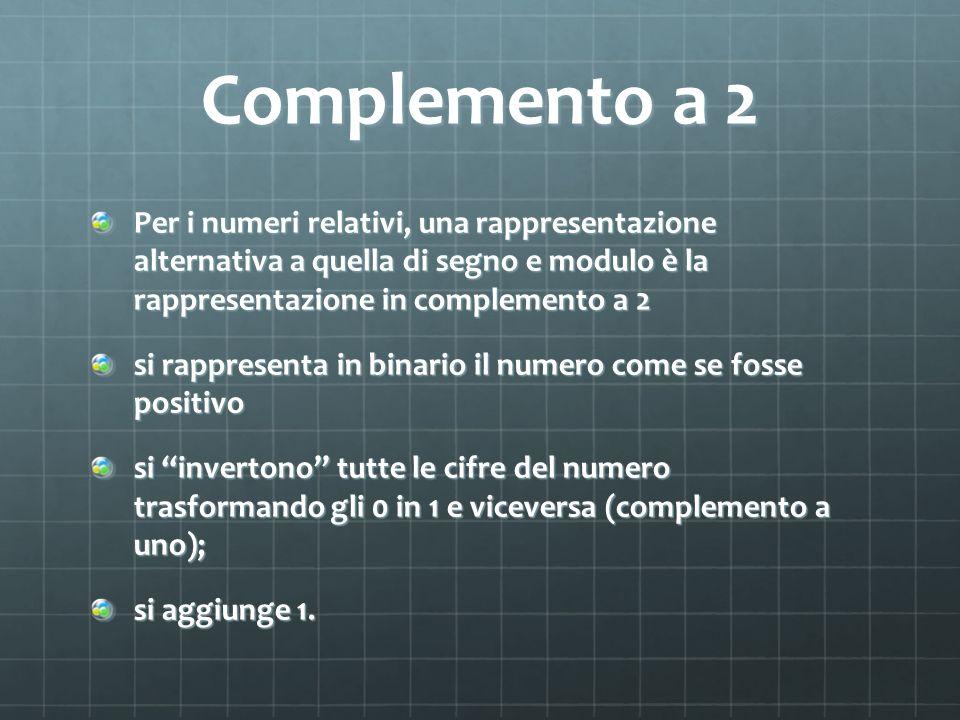 Complemento a 2 Per i numeri relativi, una rappresentazione alternativa a quella di segno e modulo è la rappresentazione in complemento a 2.
