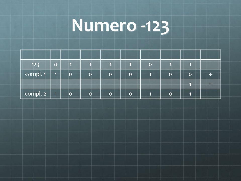 Numero -123 123 1 compl. 1 + = compl. 2