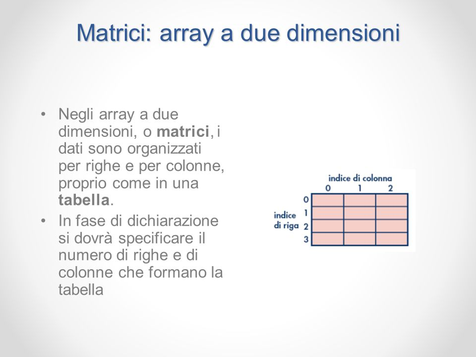 Matrici: array a due dimensioni